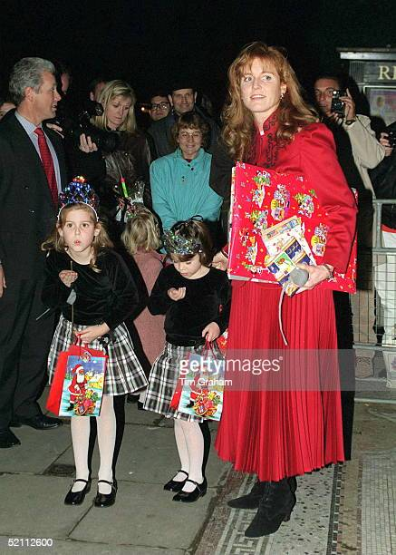 Duchess Of York With Her Daughters Princess Beatrice And Princess Eugenie Attending Christmas Pantomime 'cinderella' In Aid Of 'children In Crisis'...