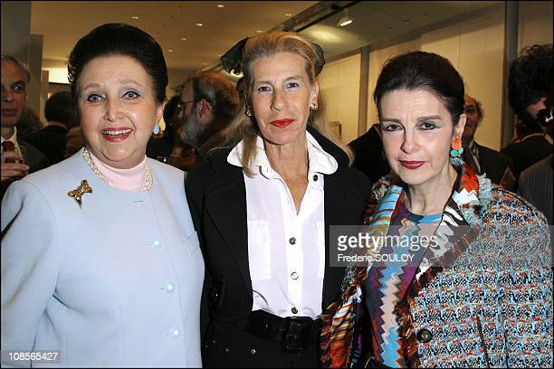 Duchess Sophie of Wurttemberg Countess of Follin and Pricess Nesrine Toussoun of Egypt at the opening of the 8th exhibition of work at the Mairie in...