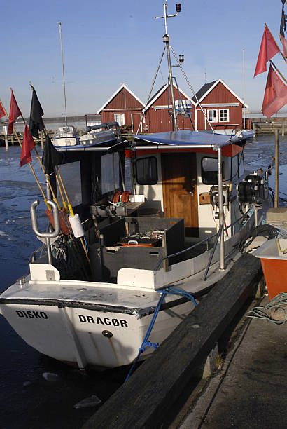 fishing habour frozon with ice duck and fishing boats are duck at