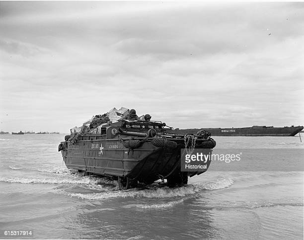 A US Duck amphibious vehicle landing in Normandy France 1944