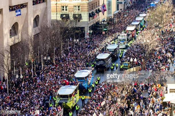 Duck boats line Boylston Street as the New England Patriots Super Bowl Victory Parade is held on February 05 2019 in Boston Massachusetts