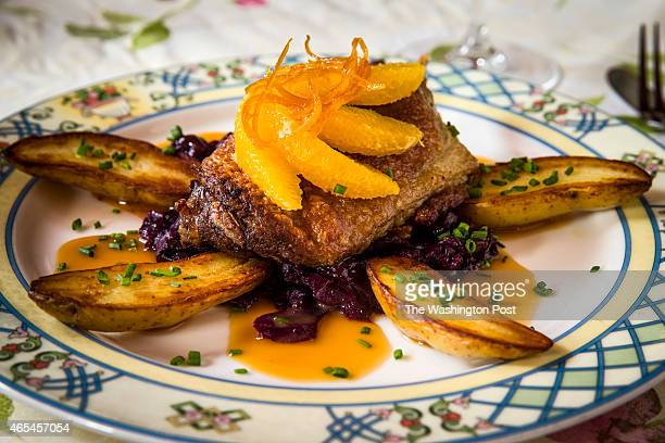 Duck Confit at Le Vieux Logis restaurant in Bethesda MD 2014 A classic French entree