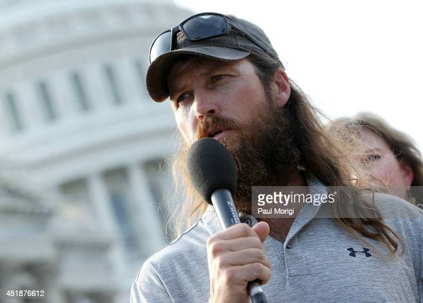 Duck Dynasty's Jase Robertson makes a few remarks at a press conference to raise awareness of cleft lip and palate treatments on July 8 2014 at the...