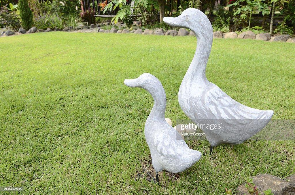 Duck U0026 Egg Statues In Garden : Stock Photo