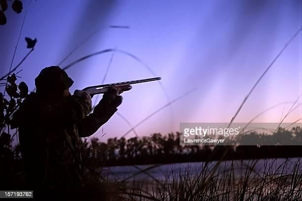 duck hunter at dawn