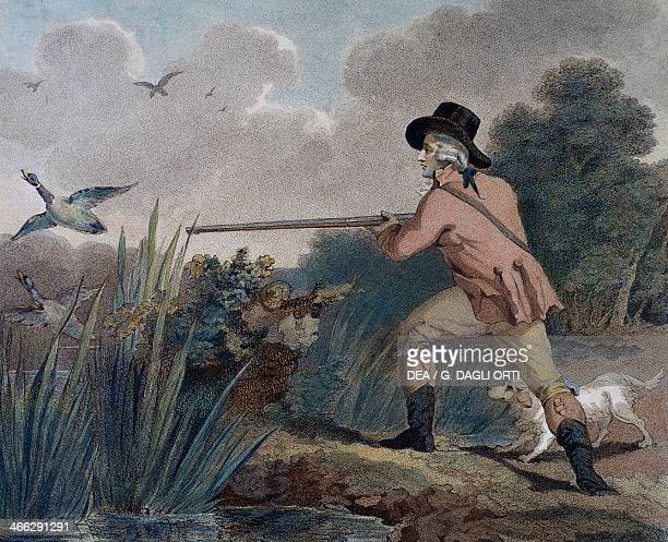 Duck hunting engraving by Thomas Simpson