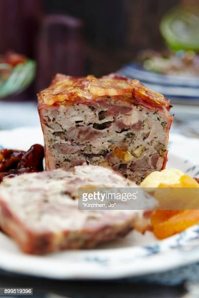 duck pt with apricots - pate stock photos and pictures