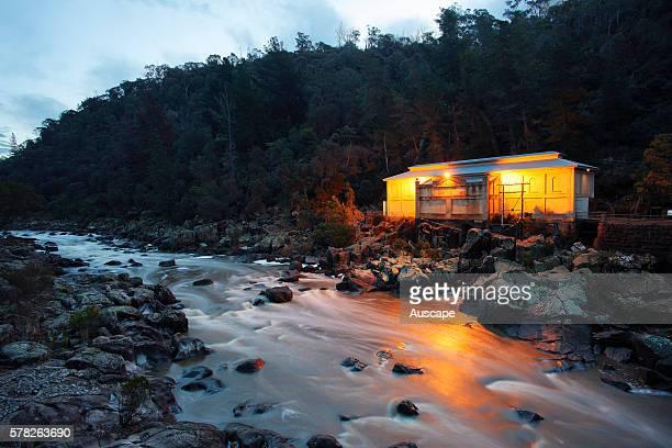 Duck Reach Power Station now a museum at dusk Cataract Gorge Reserve Launceston Tasmania Australia