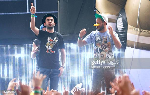 Duck Sauce performs during Day 3 of the Coachella Valley Music Arts Festival 2011 held at the Empire Polo Club on April 17 2011 in Indio California