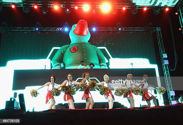 Duck Sauce performs onstage during day 3 of the 2014 Coachella Valley Music Arts Festival at the Empire Polo Club on April 13 2014 in Indio California
