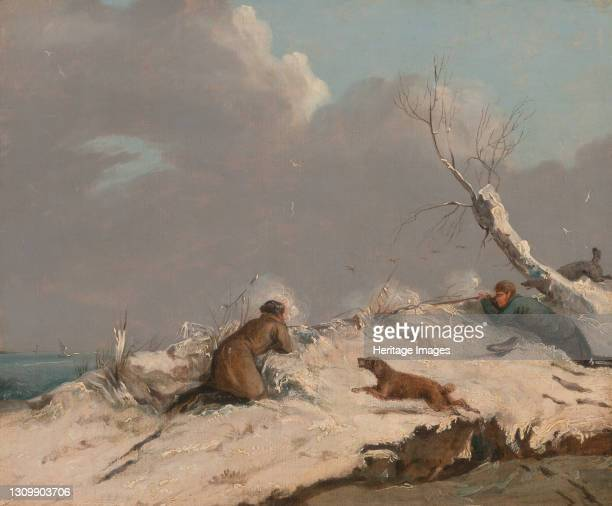 Duck Shooting in Winter, ca. 1825. Artist Henry Thomas Alken. .