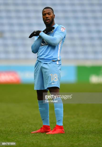 Duckens Nazon of Coventry City celebrates after scoring his sides first goal during the The Emirates FA Cup Second Round match between Coventry City...