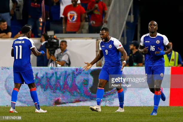 Duckens Nazon of Haiti celebrates after scoring a goal during the second half of a CONCACAF Gold Cup soccer match against Costa Rica at Red Bull...