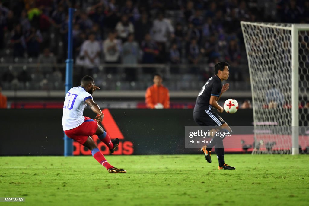 Duckens Nazon of Haiti scores his side's third goal during the international friendly match between Japan and Haiti at Nissan Stadium on October 10, 2017 in Yokohama, Kanagawa, Japan.