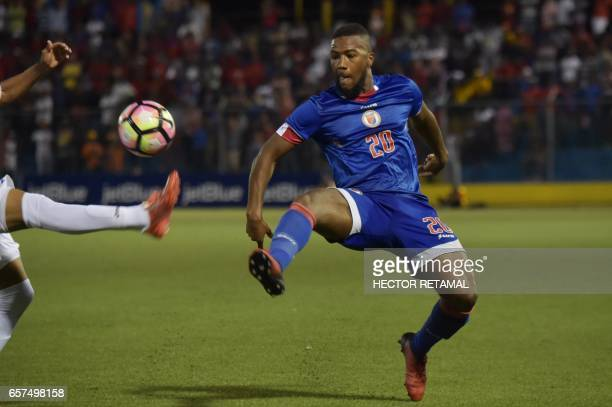Duckens Nazon of Haiti vies for the ball during the first of two match to define the last qualified to the 2017 Gold Cup at the Sylvio Cator Stadium...