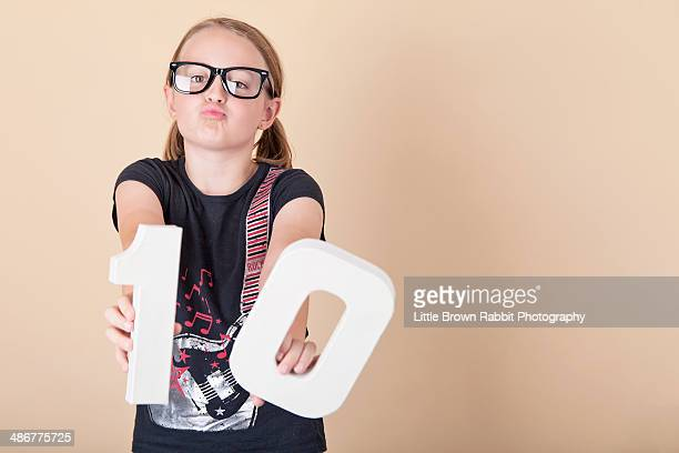 duck-face girl in geek glasses and pigtails - 10 11 years stock photos and pictures