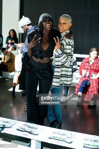 Duckie Thot and Dilone prepare before the Jeremy Scott fashion show during New York Fashion Week The Shows at Gallery I at Spring Studios on February...