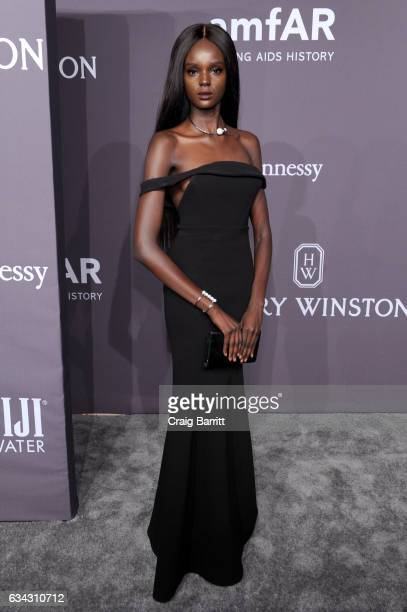 Duckie Thot attends the amfAR New York Gala 2017 sponsored by FIJI Water at Cipriani Wall Street on February 8 2017 in New York City