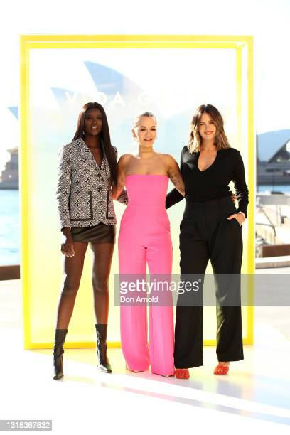 Duckie Thot, Rita Ora and Jesinta Franklin attend the Vide Glow global launch at Sydney Harbour on May 17, 2021 in Sydney, Australia.