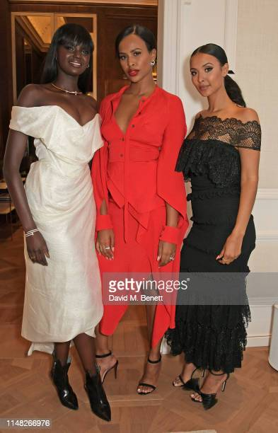 Duckie Thot Sabrina Dhowre Elba and Maya Jama attend the Cartier and British Vogue Darlings Dinner at the Residence at Cartier New Bond Street on...