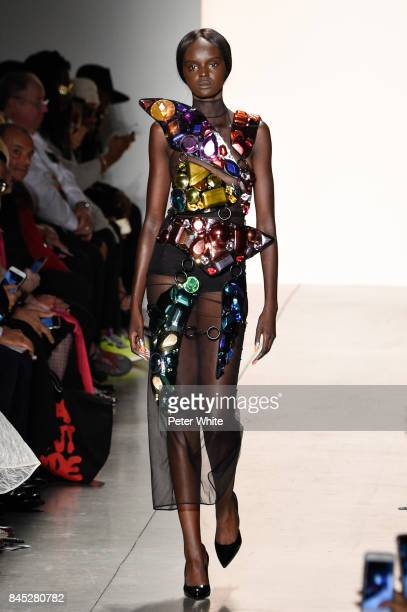 Duckie Thot walks the runway during the Jeremy Scott fashion show during New York Fashion Week on September 8 2017 in New York City