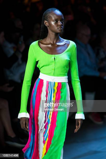 Duckie Thot walks the runway during the Prabal Gurung fashion show during New York Fashion Week The Shows at Gallery I at Spring Studios on September...