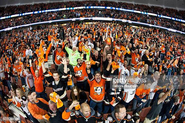Ducks fans cheer after a goal against the Nashville Predators during Game Two of the Western Conference Quarterfinals during the 2016 NHL Stanley Cup...