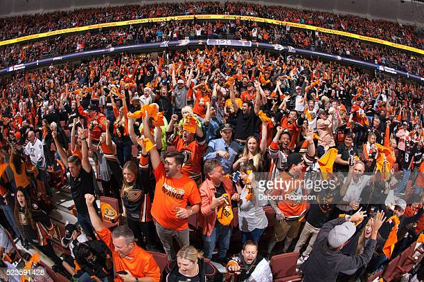 Ducks fans cheer after a goal in Game Five of the Western Conference First Round between the Anaheim Ducks and the Nashville Predators during the...