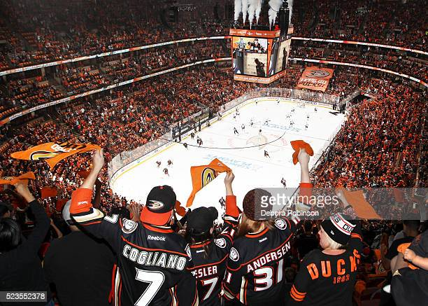 Ducks fans wave their playoff towels before Game Five of the Western Conference First Round between the Anaheim Ducks and the Nashville Predators...