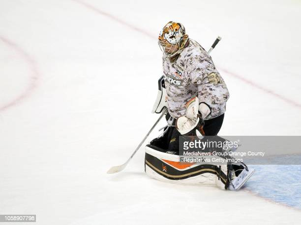 Ducks goalie Frederik Andersen warms up in a camouflage jersey as part of Military Appreciation Night at Honda Center in Anaheim on November 10 2013
