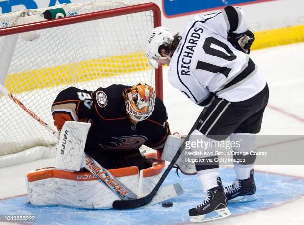 Ducks' goalie Viktor Fasth blocks the shot of the Kings' Mike Richards during a shootout at Honda Center on April 7 2013 The shootout followed three...