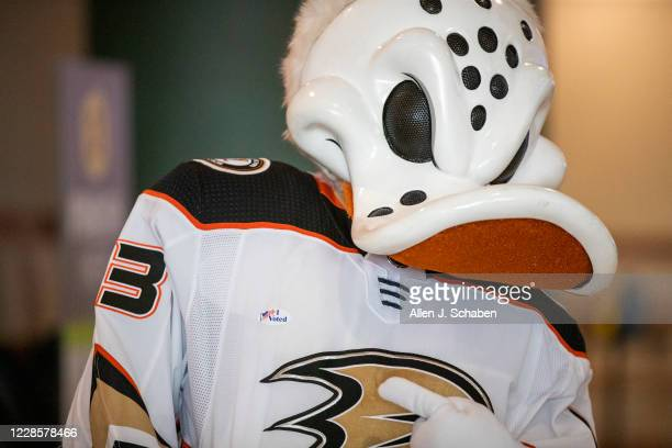 Ducks mascot Wild Wing shows off his I Voted sticker as he demonstrates how to vote during a media preview Wednesday, September 16, 2020 to showcase...