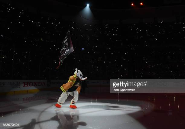 Ducks mascot Wild Wing takes the ice during game 2 of the first round of the 2017 NHL Stanley Cup Playoffs between the Calgary Flames and the Anaheim...