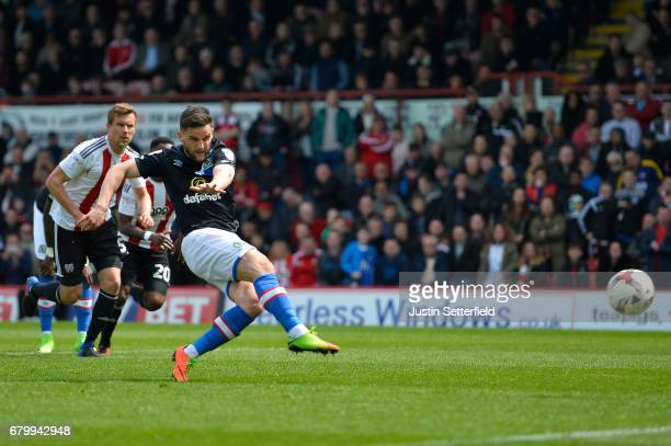 duCraig Conway of Blackburn Rovers scores his sides third goal from the penalty spot ring the Sky Bet Championship match between Brentford and...