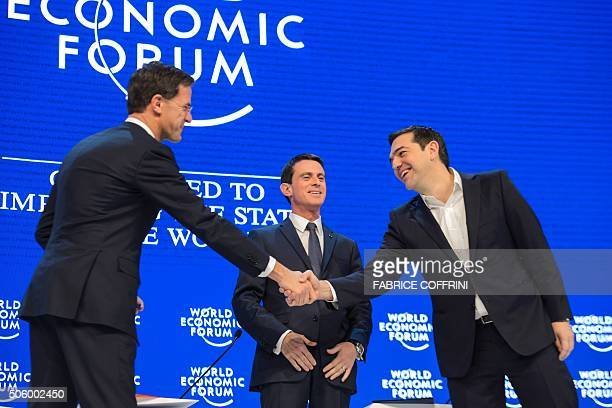 Ductch Prime Minister Mark Rutte French Prime Minister Manuel Valls and Greek Prime Minister Alexis Tsipras are pictured prior to a session at the...