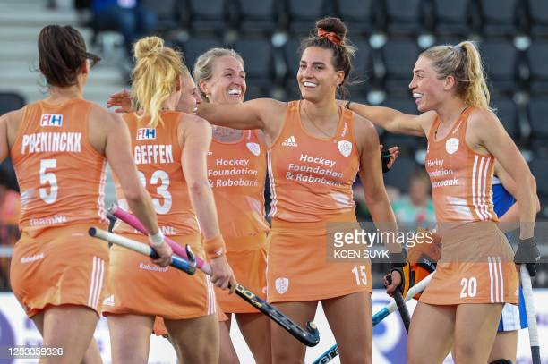 Ducth players celebrate the 4-0 during the European Hockey Championship match between the Netherlands and Scotland in the Wagener Stadium in...