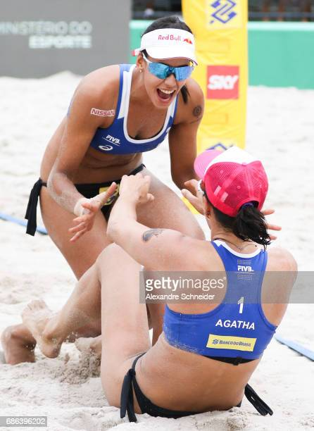 Duda and Agatha of Brazil celebrate after winning the gold medal match against Canada at Parque Olimpico during day four of the FIVB Beach Volleyball...