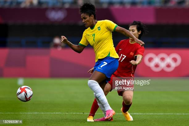 Duda of Brazil and Guiping Luo of China during the Tokyo 2020 Olympic Football Tournament match between China and Brazil at Miyagi Stadium on July...