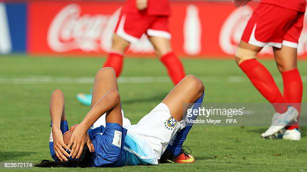 Duda of Brazil reacts after missing a shot on goal during the second half of the Group A match of the FIFA U20 Women's World Cup Papua New Guinea...