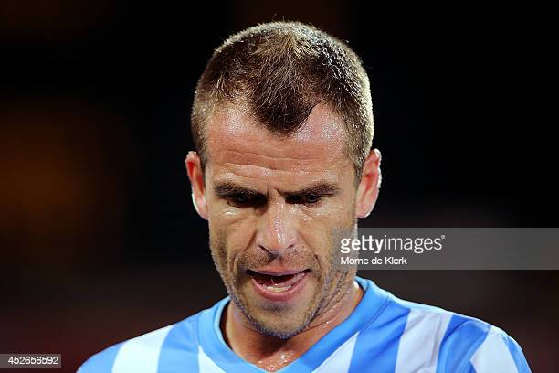Duda of Malaga looks on during the international club friendly match between Adelaide United and Malaga CF at Adelaide Oval on July 25 2014 in...