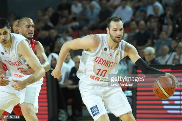 Duda Sanadze of Georgia drives the ball during the FIBA Basketball World Cup Qualifier match between Georgia and Serbia at Tbilisi Sports Palace on...