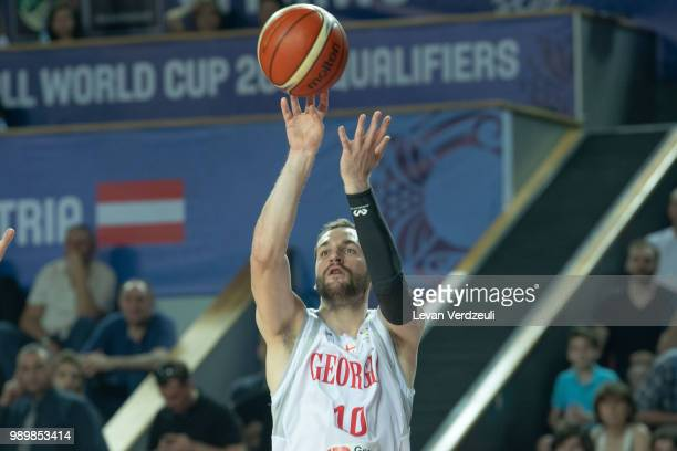 Duda Sanadze of Georgia shoots the ball during the FIBA Basketball World Cup Qualifier match between Georgia and Austria at Tbilisi Sports Palace on...