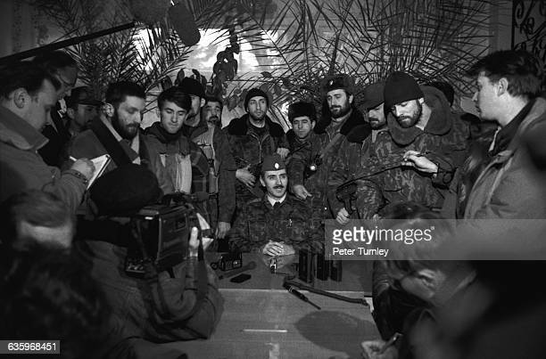 Dudayev addresses the Chechnyan media in January of 1995 during the RussianChechen war Only five months prior to this photo Dudayev had orchestrated...