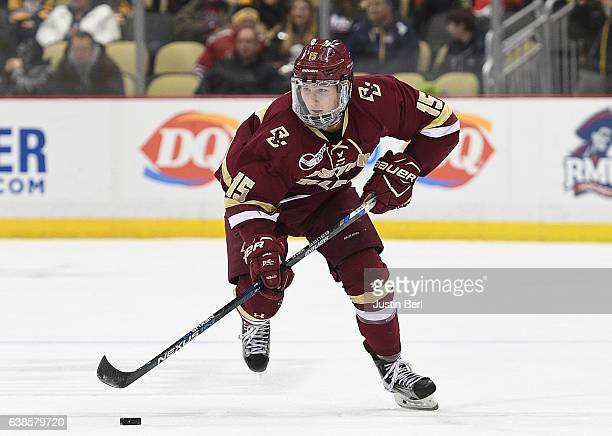 Dudek of the Boston College Eagles skates with the puck in the third period during the consolation game of the Three Rivers Classic hockey tournament...