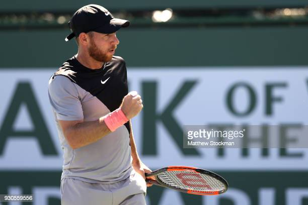 Dudi Sela of Israel celebrates breaking Kyle Edmund of Great Britai during the BNP Paribas Open at the Indian Wells Tennis Garden on March 11 2018 in...