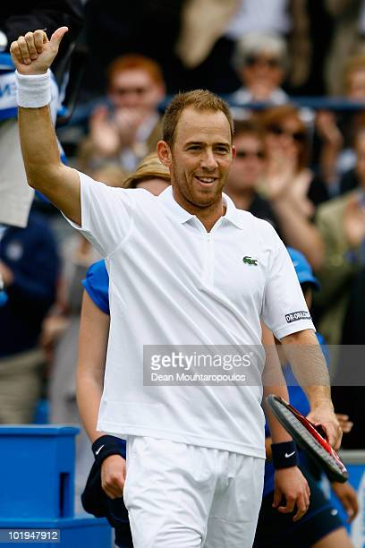 Dudi Sela of Israel celebrates taking match point during his third round match against Andy Roddick of USA on Day 4 of the the AEGON Championships at...
