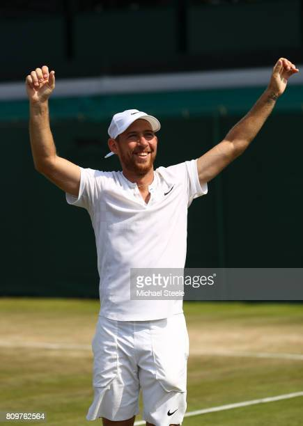 Dudi Sela of Israel celebrates victory after the Gentlemen's Singles second round match aganst John Isner of The United States on day four of the...