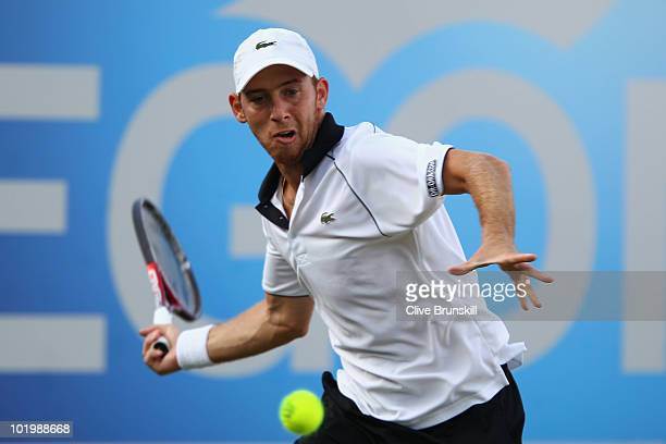 Dudi Sela of Israel in action during his quarter final match against Rainer Schuettler of Germany on Day 5 of the the AEGON Championships at Queen's...