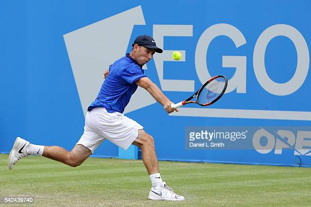 Dudi Sela of Israel plays a backhand during his men's singles quarterfinal match match against Andres Seppi of Italy during day four of the ATP Aegon...