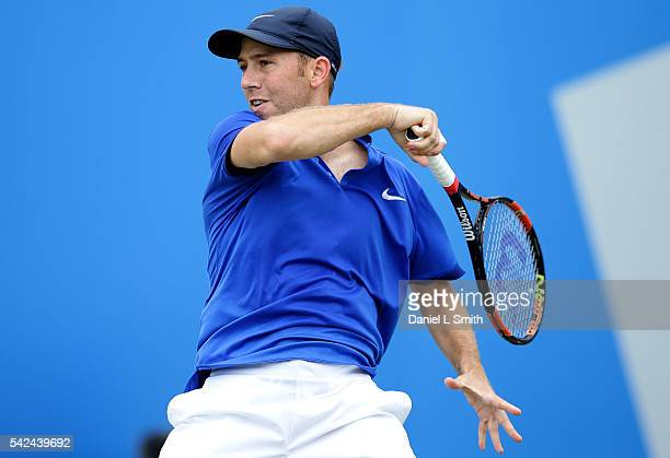 Dudi Sela of Israel plays a forehand during his men's singles quarterfinal match match against Andres Seppi of Italy during day four of the ATP Aegon...